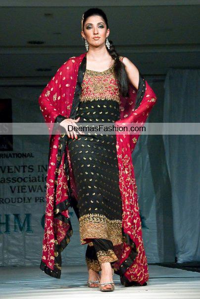 Latest Designer Wear Collection – Black Red Formal Dress