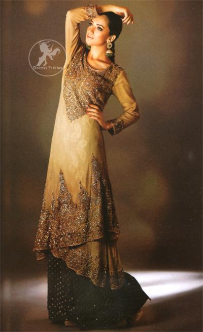 Light Fawn Double Layer Shirt Sharara Light fawn double layer shirt has embroidered neckline