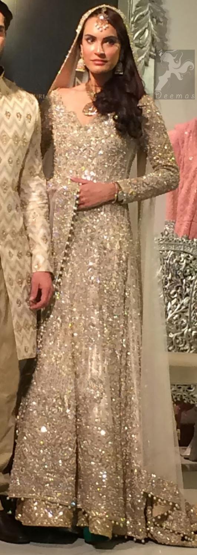 Beige Bridal Anarkali Pishwas Lehenga