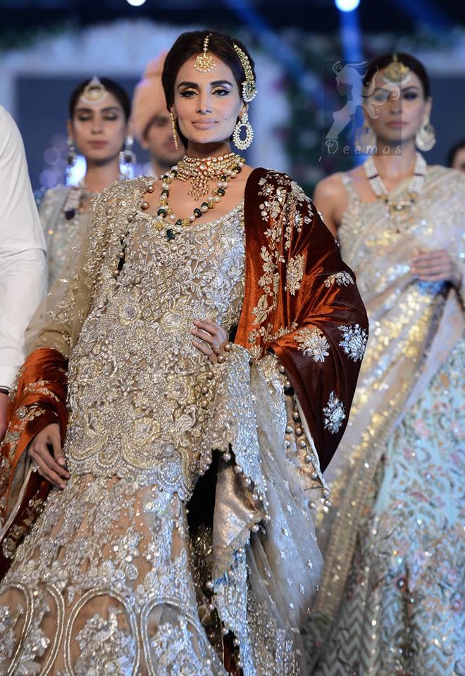Latest Pakistani Light Brown Fully Embroidered Bridal Shirt Lehnga and Dupatta 2016