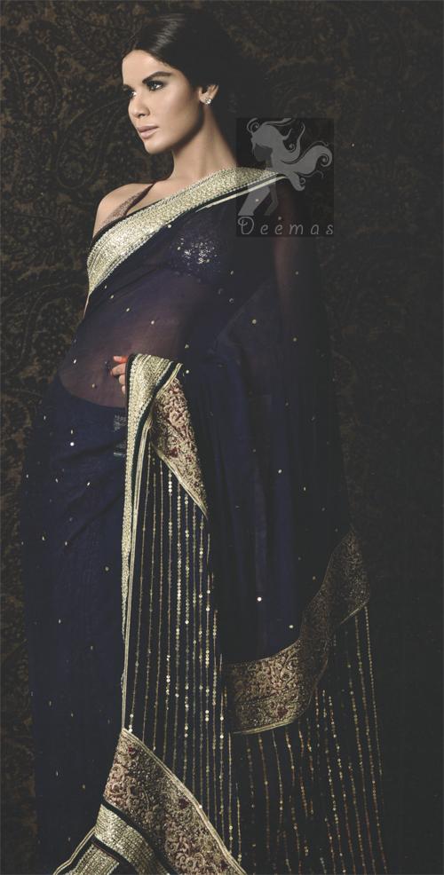 Navy Blue Designer Wear Saree