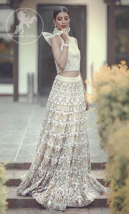 Latest Pakistani Bridal Wear Sharara and Fawn Blouse 2016