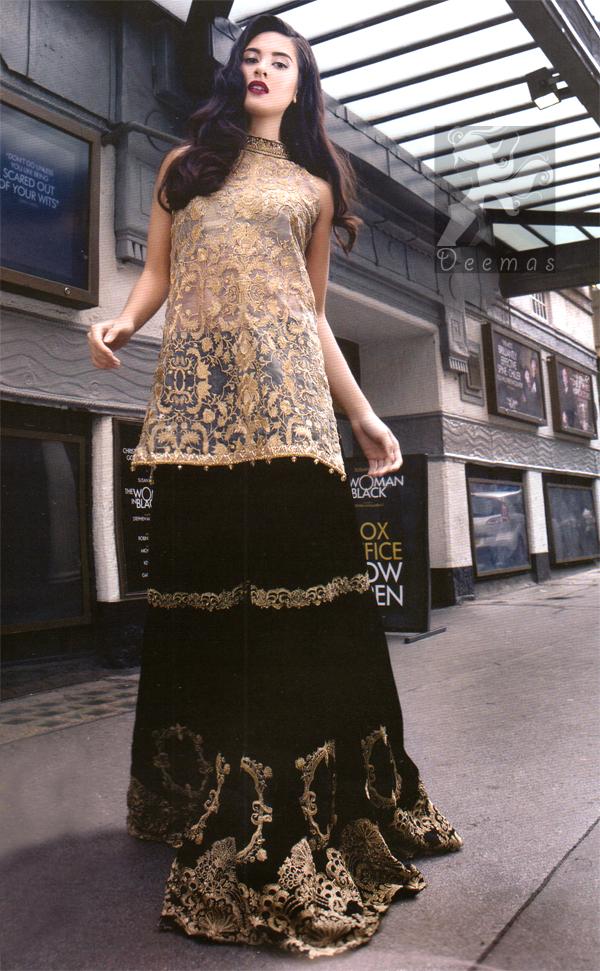 Light Golden Heavy Shirt - Black Velvet Sharara