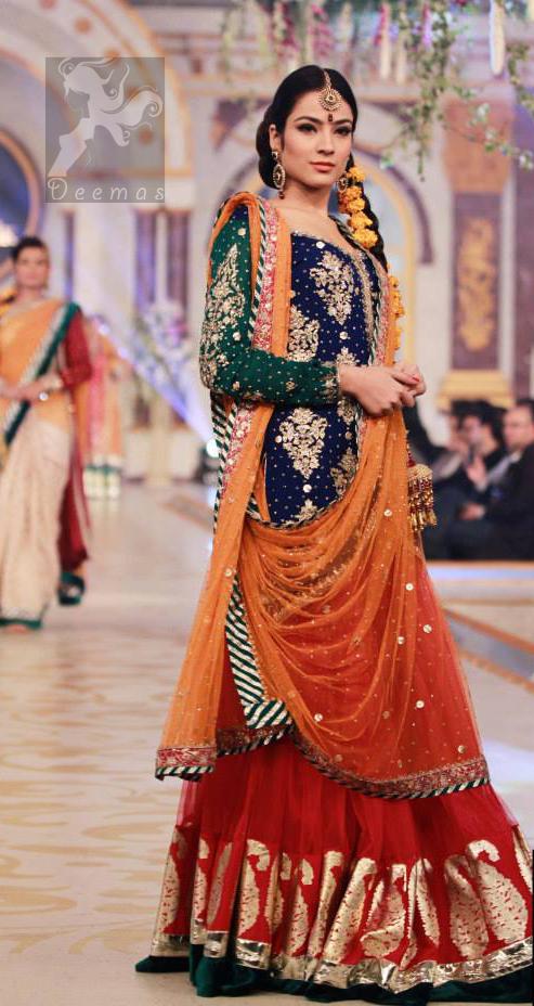 Royal Blue - Deep Orange - Red Mehndi Wear Dress
