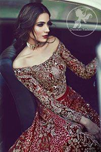 Bright Red Bridal Lehenga - Embroidered Choli - Beige Dupatta