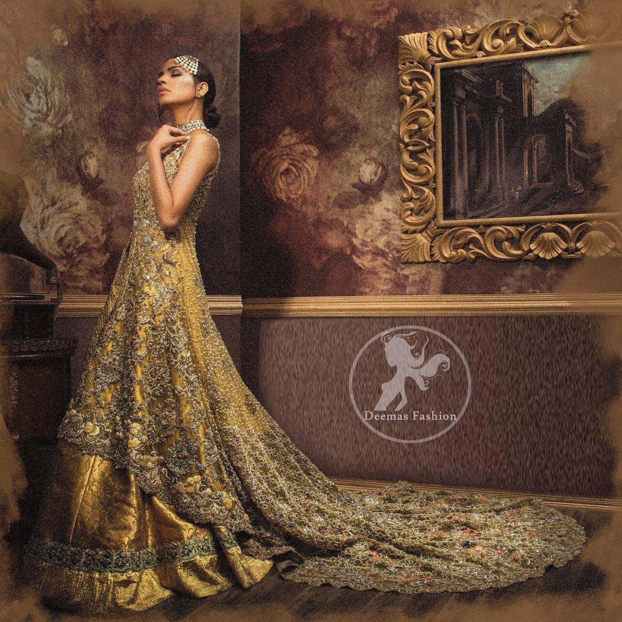 Designer Dress 2017 - Golden Front Open Back Trail Gown - Bridal Lehenga