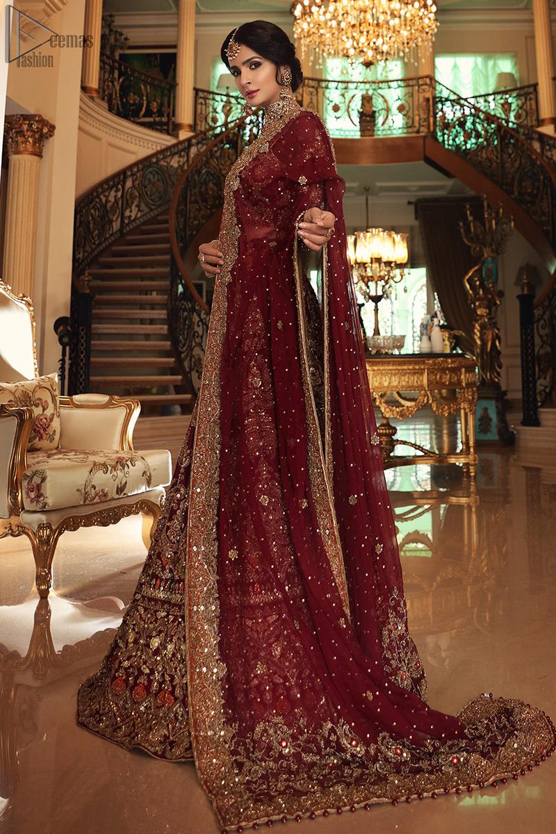 Maroon Blouse n High Rise Lehenga - Appliqued Dupatta
