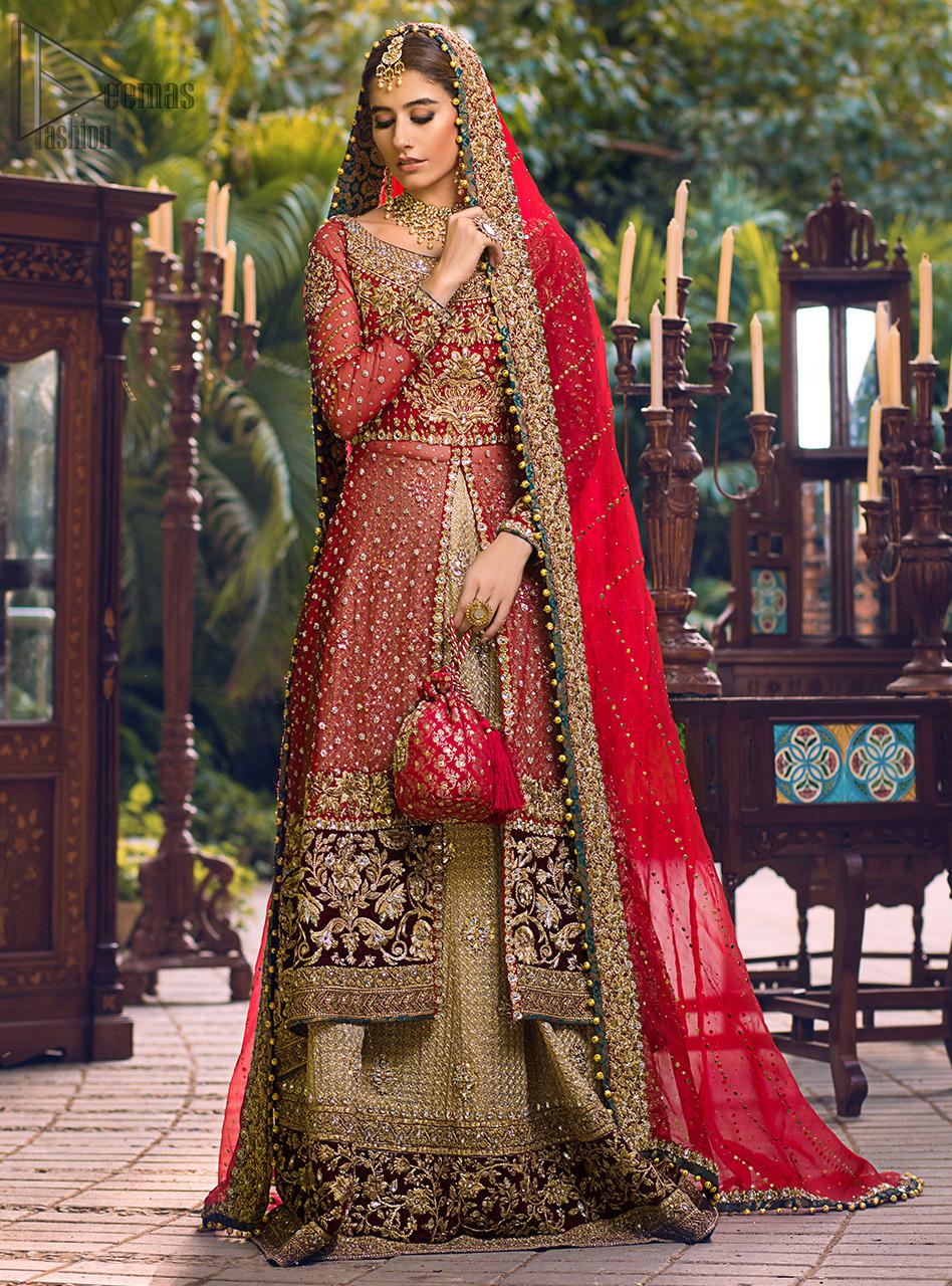 Latest Pakistani Wedding Wear - Red Back Train Front Open Gown - Golden Lehenga