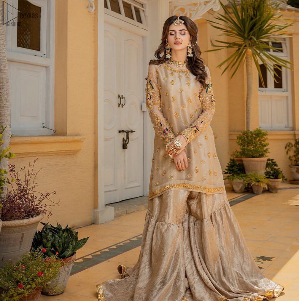 Beige Aline Tissue Shirt - Banarsi Gharara for Nikah