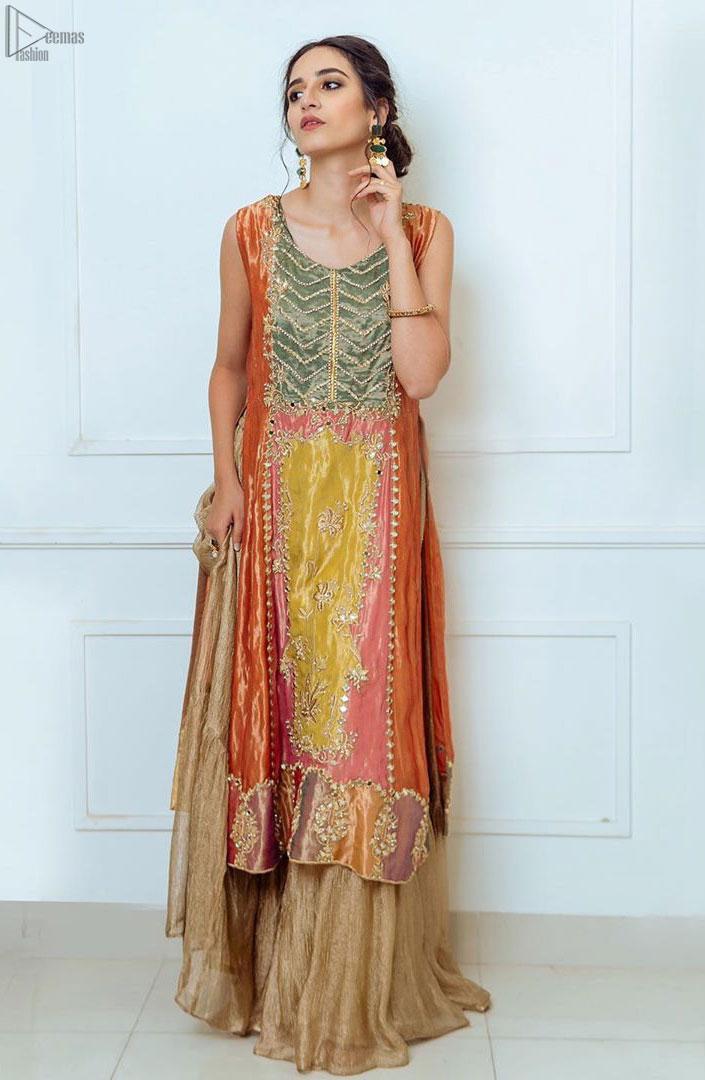 Orange Appliqued Shirt- Golden Sharara