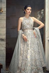 Light Grey Halter Neck Gown Lehenga – Dupatta