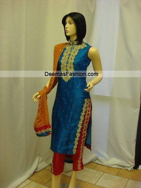 Pakistani Designer Dress – Blue Red Formal Wear