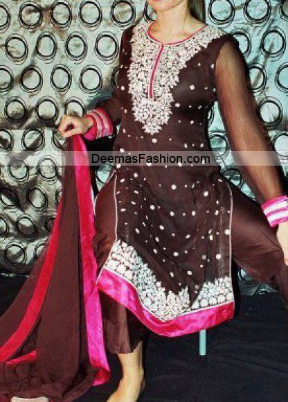 Pakistani Designer Dress – Brown Shocking Pink Formal Wear