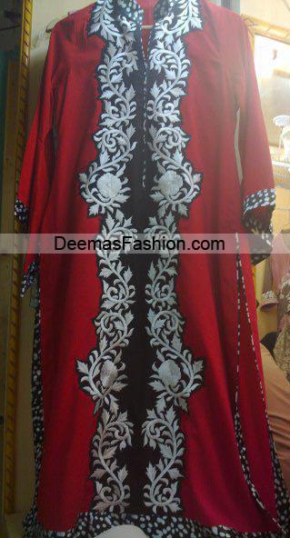 Pakistani Designer Dress - Red Black Casual Wear