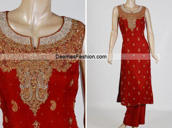 Latest Pakistani Formal Wear – Bright Red Dress