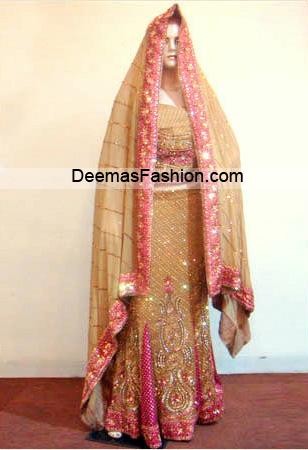 Pakistani Bridal Wear Dress – Light Golden Pink Lehnga
