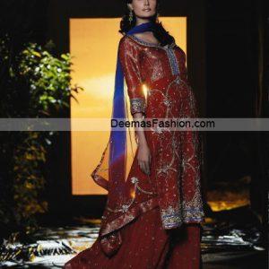 Latest Bridal Wear Dress - Deep Red Blue Sharara