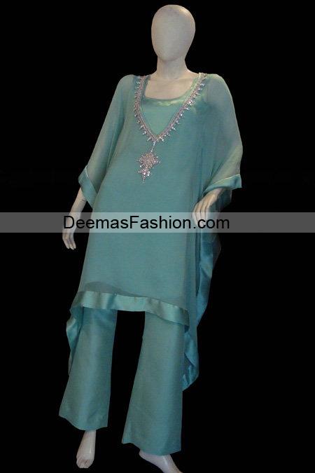 Pakistani Designer Wear – Blue Casual Dress