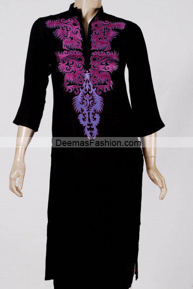 Pakistani Casual Wear - Black Purple Dress