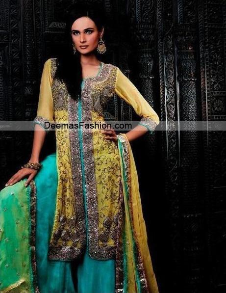 Designer Wear Dress – Yellow Ferozi Sharara