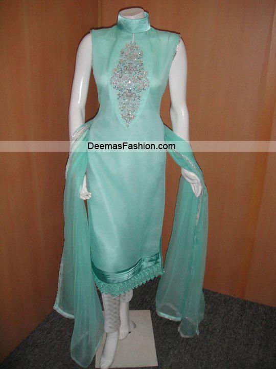 Pakistani Casual Dress – Ferozi Green Silver