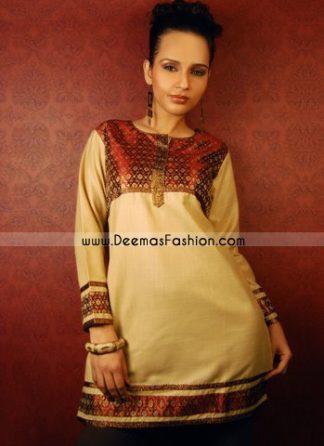 Latest Indian Fashion Beige Chiffon Kurti Shirt