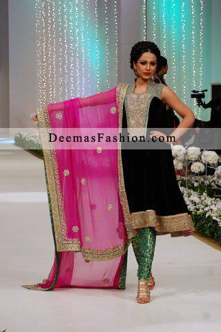 Black Shirt Shocking Pink Dupatta Green Trouser – Formal Wear Dress