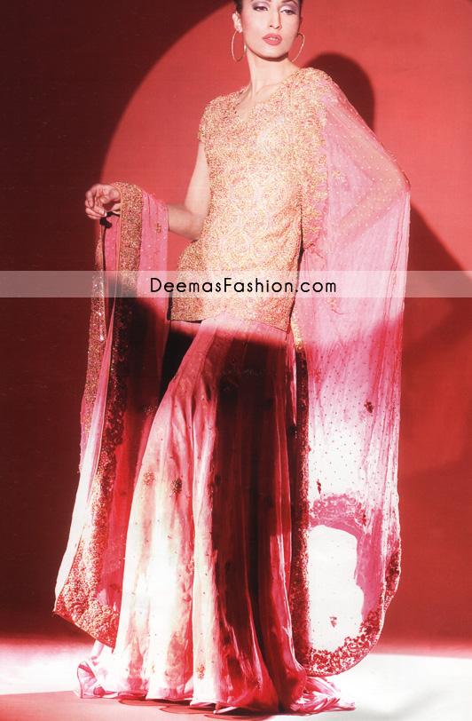 Buy Designer Wear – Pink Golden Bridal Dress