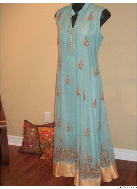 Buy Pakistani Clothes – Sky Blue Aline Anarkali Casual Wear