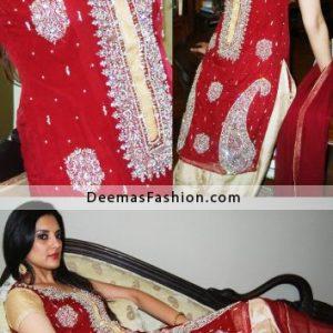 Buy Pakistani Fashion Dress - Red Beige Dress