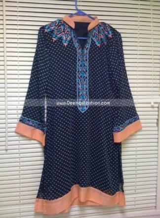 Pakistani Stylish Royal Blue A Line Kurta Shirt