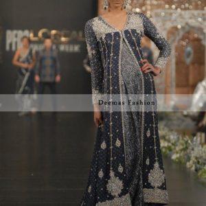 Dark Grey Silver Bridal Wear Sharara