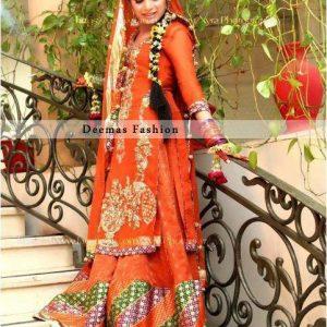 Deep Orange Bridal Mehndi Wear Sharara
