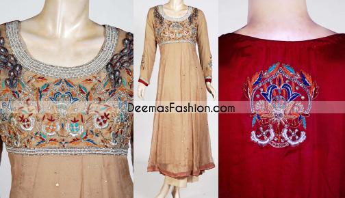 Designer Collection – Beige & Red Anarkali Frock Dress