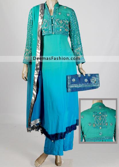 Designer-Wear-Anarkali-Frock-Sparkling-Blue