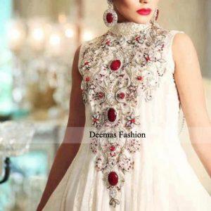 Designer Dress White Anarkali Frock