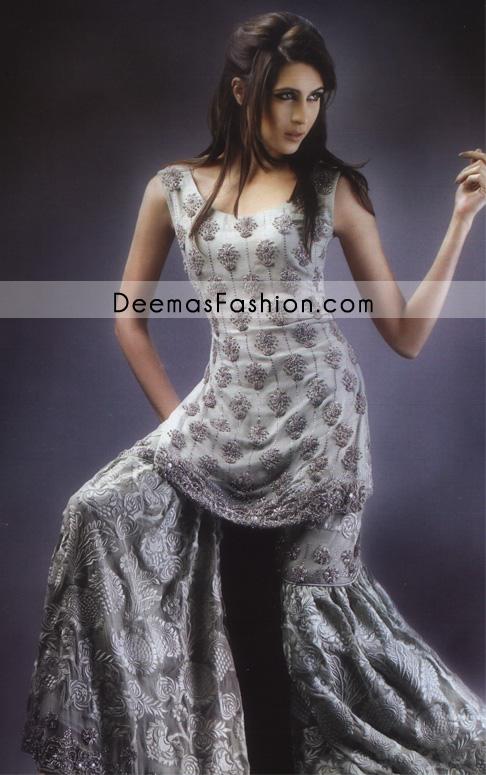 Designers Bridal Dress – Silver Grey Gharara