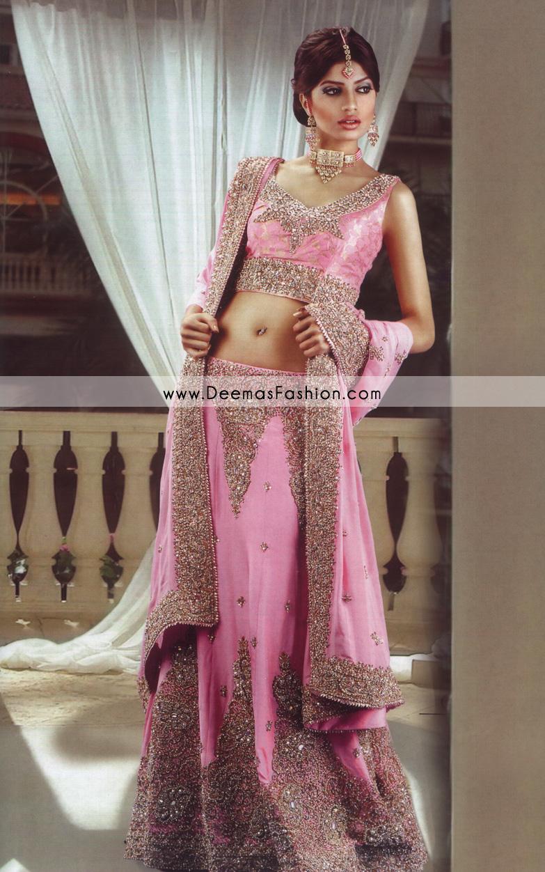 Latest Indian Style Lehenga – Pink Golden Bridal Dress