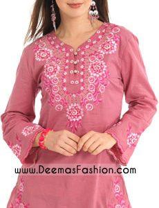 Ladies kurtiz Clothes - Pink Embroidered Kurti Design