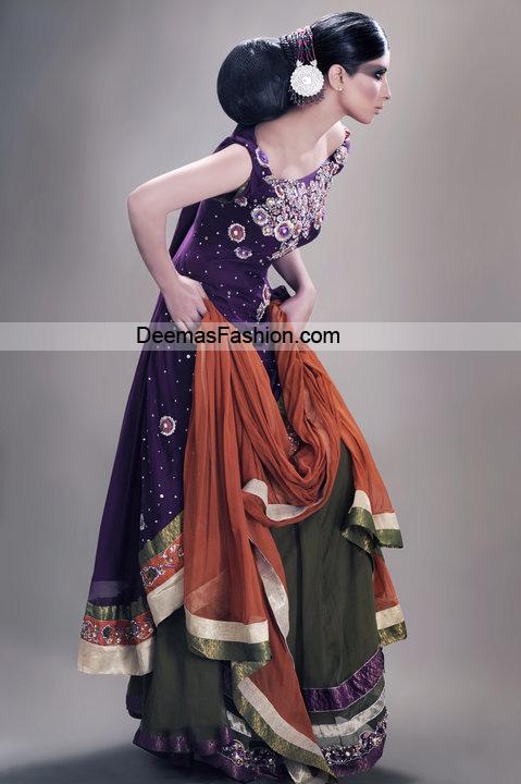 Larest Bridal Dress – Purple Mehndi Green Shrara