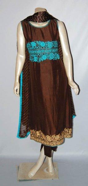 Latest A-Line-Frock-Fashion-2010-Dark-Brown