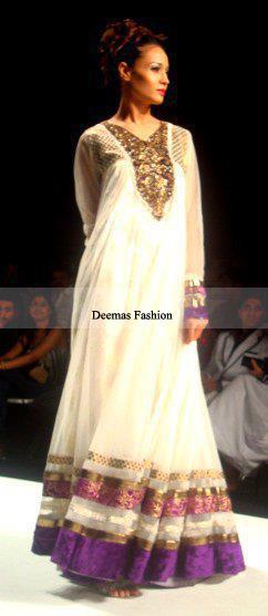 Latest Collection White Anarkali Pishwas Dress