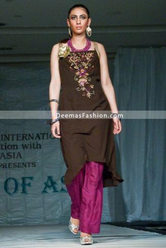 Latest Designer Dress - Brown Shocking Pink Casual Wear