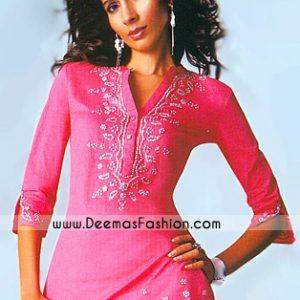 Ladies Designer Clothes – Pink Embroidered Kurta Wear