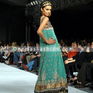 Latest Pakistani Fashion - Turquoise Green Anarkali Frock