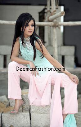 Latest Pakistani Casual Wear – Pink Ferozi Embroidered Dress
