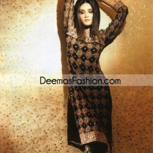 Latest Pakistani Formal Wear – Black Heavy Embroidered Dress