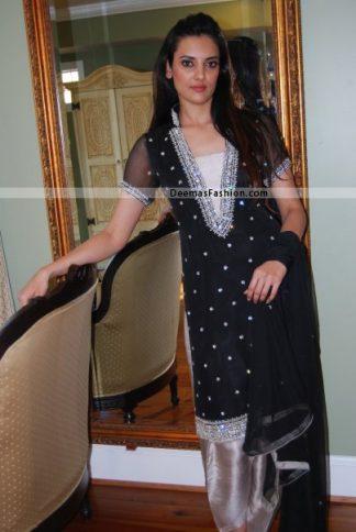 Latest Pakistani Party Wear Dress Black Silver