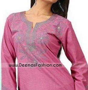 Pakistani Latest Kurta Trend – Pink Embroidered Kurti Wear