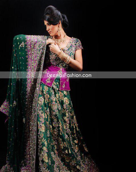 Latest Pakistani Bridal Wear – Bottle Green & Magenta Lehnga